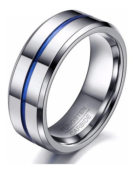 Anel Masculino Tungstênio 8mm Chanfrada Anatômico Faixa Azul
