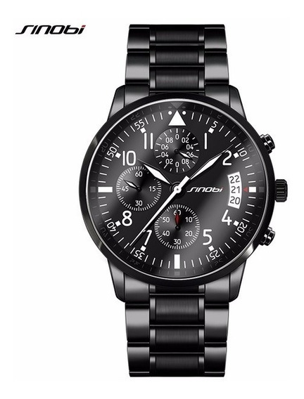 Reloj Elegante Hombre Cronometro Fechador Metalico Piloto