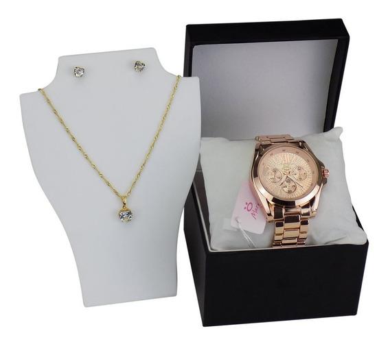 Relógio Orizom Maria Aço + Caixa Top + Colar E Brincos
