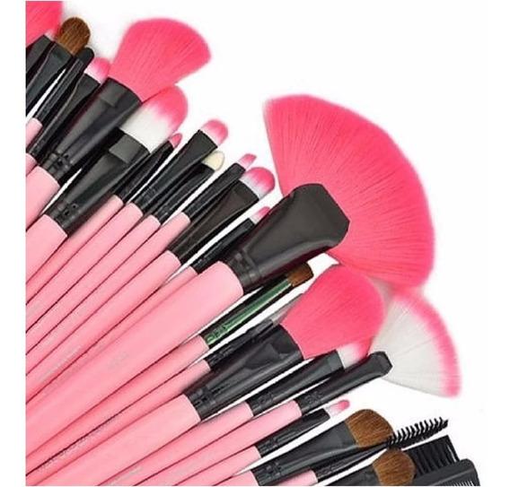 Kit De 24 Pincéis Maquiagem + Bolsa De Couro Cor Rosa Pink