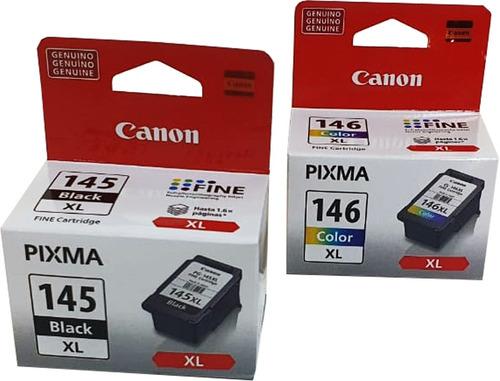 Imagen 1 de 6 de Combo Cartucho Tinta Canon 1 Negro Pg-145xl 1 Color Cl-146xl