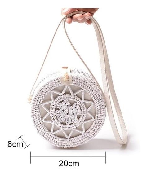 Bolsa Feminina Palha Branca Redonda Mandala