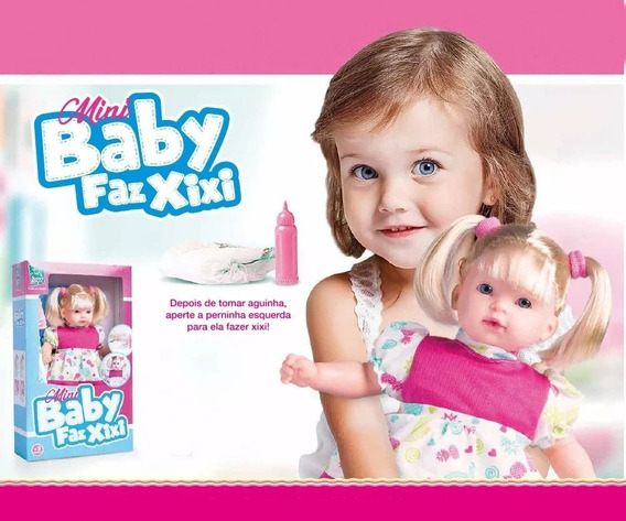 Boneca Bebe Mini Baby Faz Xixi Menina - Super Toys