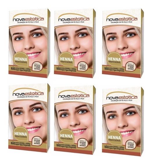 6 Kit Henna P/sobrancelhas Nova Estética Frete Gratis+brinde