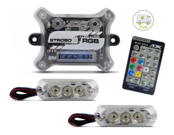 Kit Strobo Rgb Ajk Som Automotivo Central +9 Efeitos 7 Cores