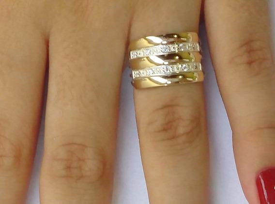Anel 5 Elos Vazado Prata 3 Filetes Ouro 12k Pedras Zircônias