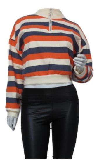 Blusa Trico Listrada Com Fecho