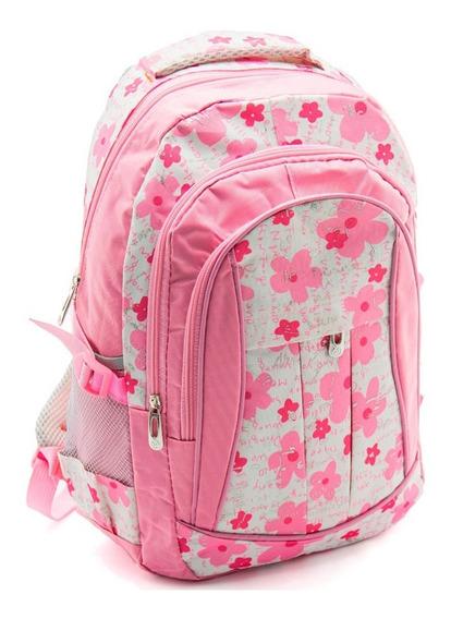 Bolsa Mochila Escolar Floreal Rosa Meninas Top School