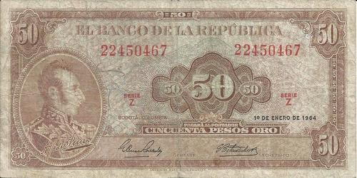 Colombia 50 Pesos Oro 1 Enero 1964