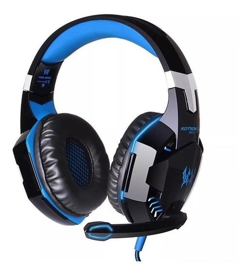 Fone de ouvido gamer Kotion G2000 preto e azul