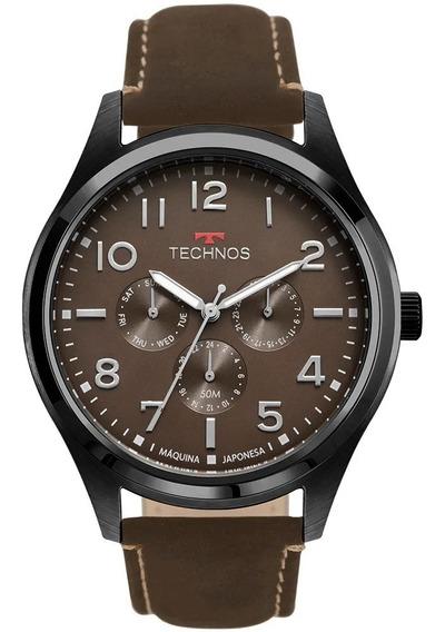Relógio Technos Stel Masculino Preto/marrom T26 Couro