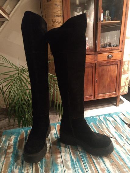 Botas De Mujer Caña Alta Negras Gamuza