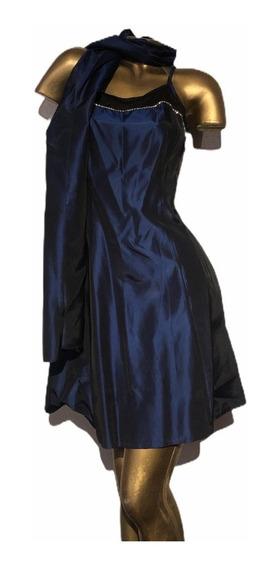 Vestido De Fiesta Corto Tornasolado Con Pañuelo Talle 5