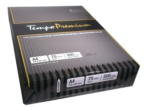 Resma Tempo A4 75 Grs Premium Laser / Inkjet X 500 Hojas