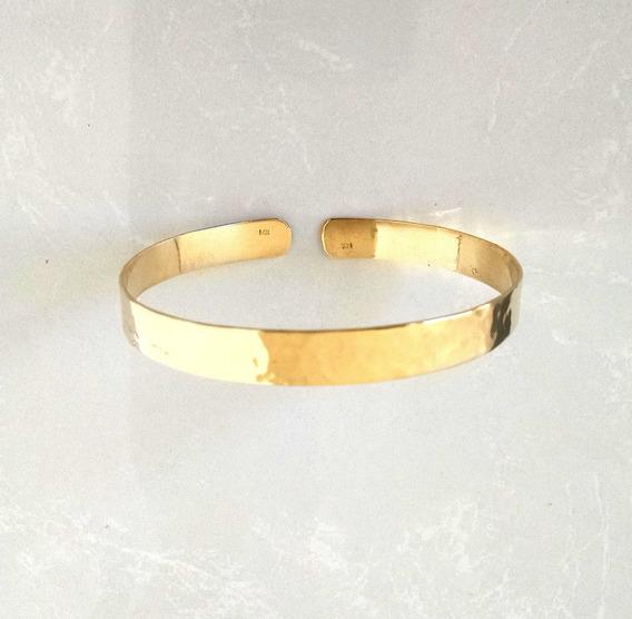Brazalete Martillado En Oro Amarillo Sólido De 14k 10.2g