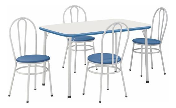 Conjunto Mesa Cadeira Marcia Tampo + 04 Cadeiras - 410/330