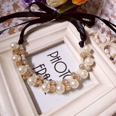 Choker Perlas Y Brillantes. Collar De Dama Perlas.