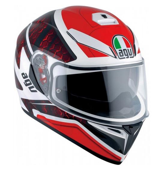 Casco Agv K3 Sv Pulse Blanco Rojo Automoto Lanus