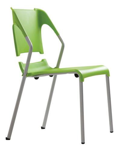 Silla Chill Polipropileno Verde Estructura Plata Marca Durex