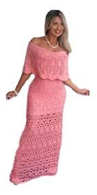 Vestido Longo Linha Tricô Ciganinha Ombro A Ombro Moda Insta
