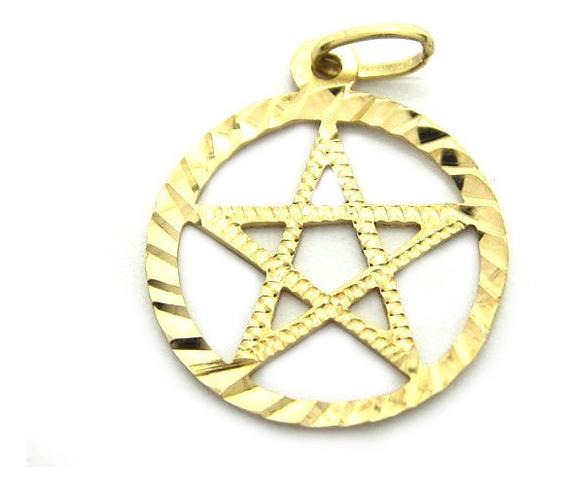 Joianete E9016-10245 Pingente De Ouro Vazado Estrela De Davi
