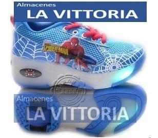 Zapatos Spider-man Con Ruedas Patin Colores Led
