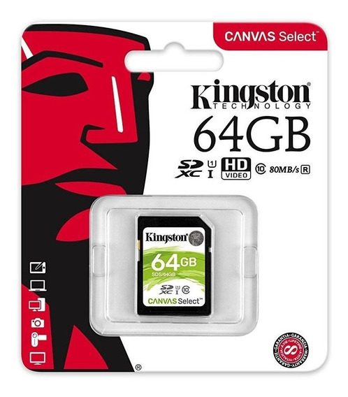 Cartão Sd Para Câmeras Fotográficas Kingston 64gb