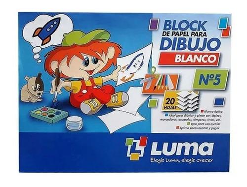 Imagen 1 de 1 de Block Luma N5 Blanco X 20 Hojas Escolar 118g