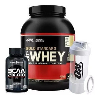 Whey Gold Standard 5lbs + Multishaker - On + Bcaa 100 Caps