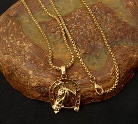 Cordão Tijolinho Banhado A Ouro 18k +pingente Cavalo