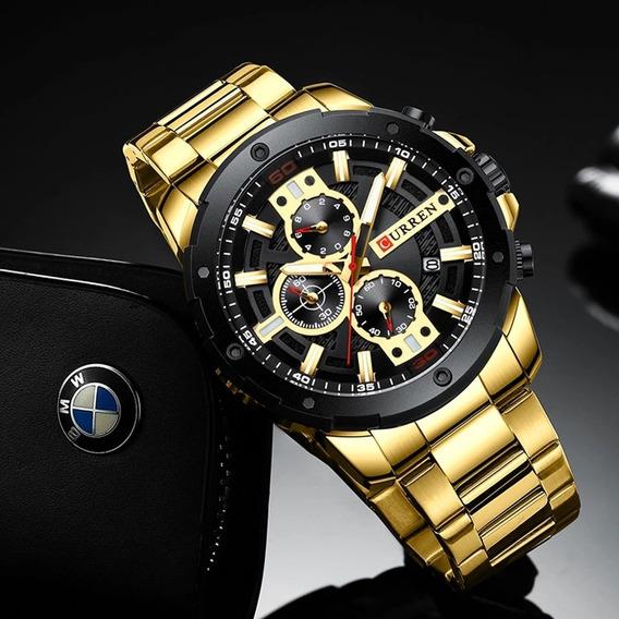 Relógio De Pulso Dourado Curren Totalmente Funcional