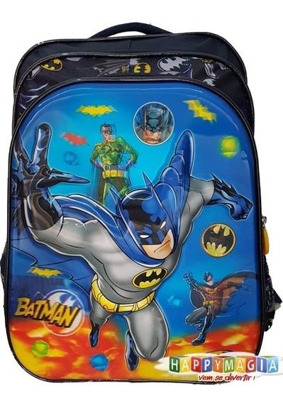 Mochila Infantil Batman Em 3d Super Lindo Com Fechos Dc Novo
