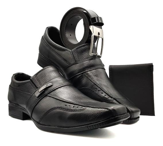 Sapato Social Masculino Couro Solado Borracha Cinto Carteira