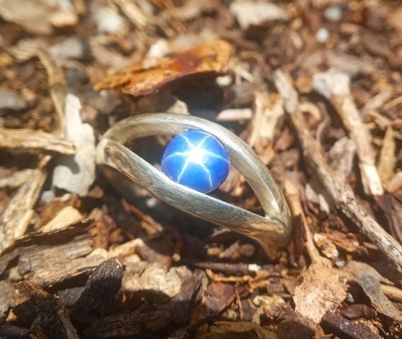 Anillo De Plata #7 Con Zafiro Estrella Azul