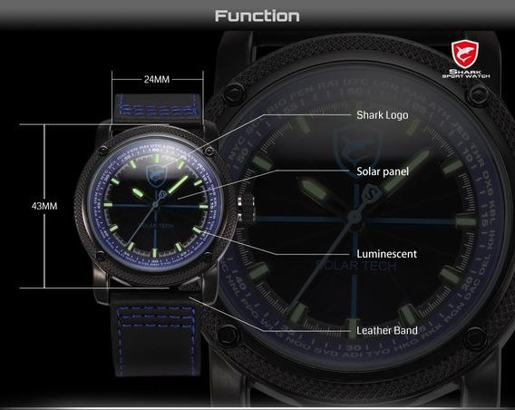 Relógio De Pulso Aço Inoxidável C/ Painel Solar Sh139 Shark
