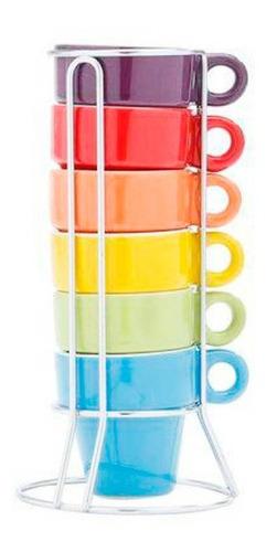 Imagem 1 de 8 de Conjunto 6 Xicaras 60ml De Porcelana Cafe C/ Suporte Gourmet