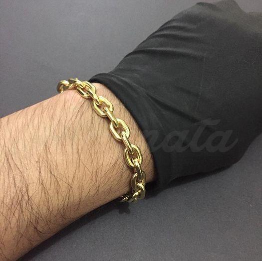 Pulseira Masculina Cadeado 8mm Banhada A Ouro 18k