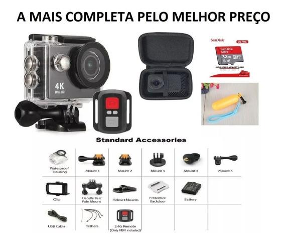 Action Câmera Mais Completa Do Mercado Livre Estilo Gopro H9r Fullhd 4k Wifi Com: Controle, Case, Boia E Cartão Sd 32gb