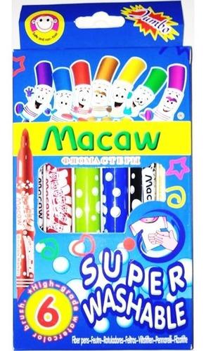 Caja Marcadores Lavables Jumbo Macaw X 6 Plumones Mc2578-6