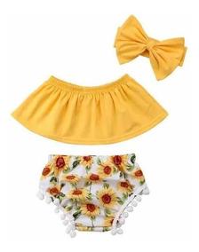 Conjunto Body Bebe Menina Blusa Calcinha Faixa Girassol 3pc