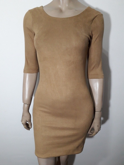 Maria Cher Divino Vestido Gamuzado Color Camel Al Cuerpo T S
