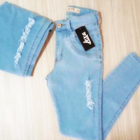 Calça Jeans Feminina Cintura Alta Escura Rasgada Cj002