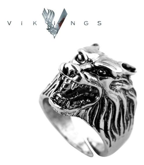Anel Lobo Wolf Guerreiro Viking Ajustável