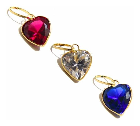 Pingente De Ouro 18k 750 Coração Com Pedra Zircônia 8mm