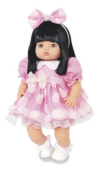 Boneca Tipo Bebe Rebon Barato Addara Princess Pink Poá