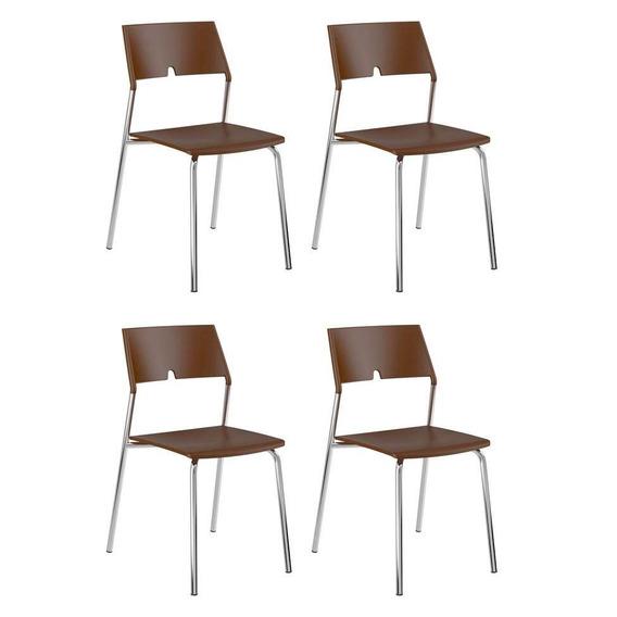 Conjunto 4 Cadeiras De Cozinha 1711 Cacau