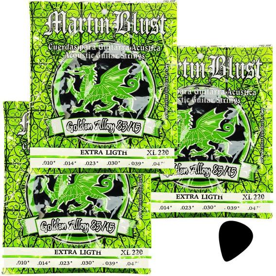 Pack X 3 Encordados Guitarra Acustica 010 Martin Blust Xl220
