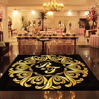 Pista De Dança Para Casamento Preto Com Dourado Ps23 - 4x4m