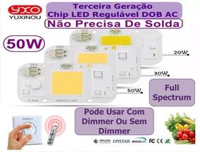 Kit 5 Chip Led 50w Branco Frio Full Spectrum 220v Aquário Pl