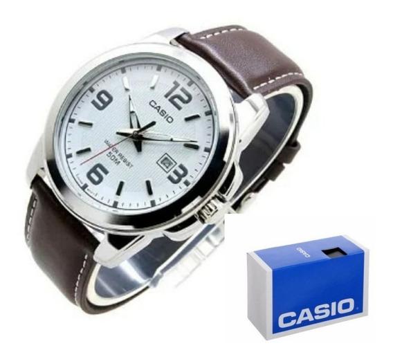 Reloj Casio Mtp1314 Piel Analogo Fechador Cristal Mineral